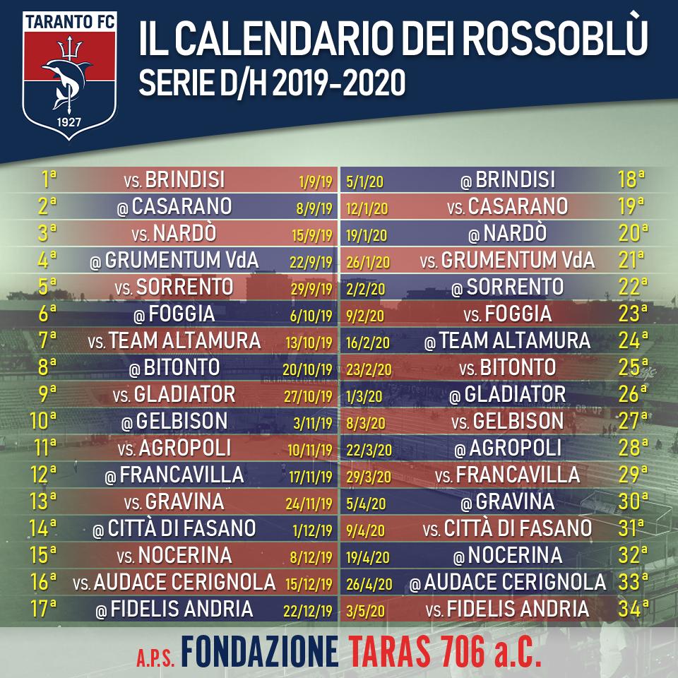 Calendario Taranto 2019-2020